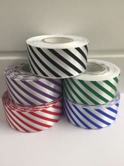 38mm Candy Stripe Ribbon Emerald Green and White 2 metres or 20 metre roll Barber Shop Diagonal